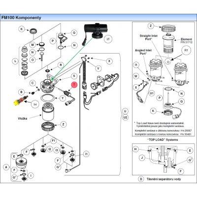 Parker Fuel Manager 34743 sada bočního vyhřívače filtru 12V, závit M12 x 1.5, FM100